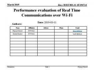 March 2019 doc IEEE 802 11 181947 r