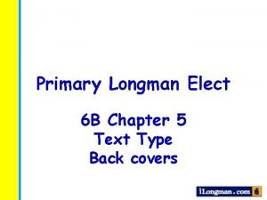 Primary Longman Elect 6 B Chapter 5 Text