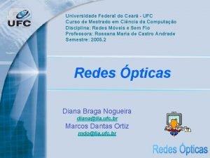 Universidade Federal do Cear UFC Curso de Mestrado