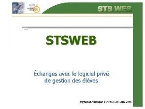 STSWEB changes avec le logiciel priv de gestion