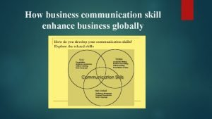 How business communication skill enhance business globally Business