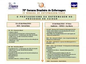 75 Semana Brasileira de Enfermagem IV SEMANA DE