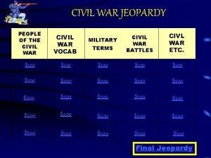 CIVIL WAR JEOPARDY PEOPLE OF THE CIVIL WAR