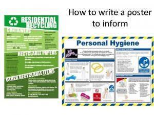 How to write a poster to inform Writing