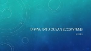 DIVING INTO OCEAN ECOSYSTEMS LESSON 1 ENGAGE The