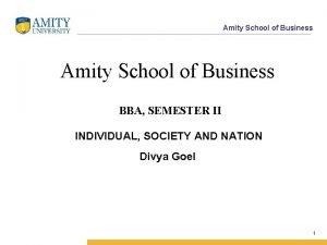 Amity School of Business BBA SEMESTER II INDIVIDUAL