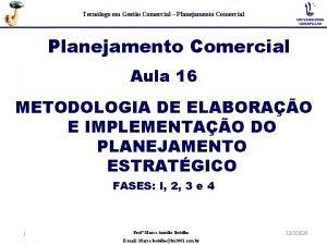 Tecnlogo em Gesto Comercial Planejamento Comercial Aula 16