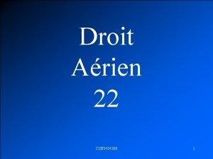 Droit Arien 22 CISPN 14300 1 IFR REGLES