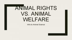 ANIMAL RIGHTS VS ANIMAL WELFARE Intro to Animal