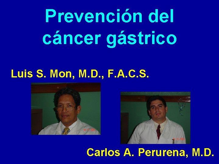 Prevencin del cncer gstrico Luis S Mon M