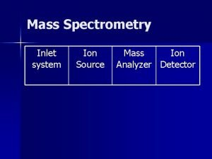Mass Spectrometry Inlet system Ion Source Mass Ion