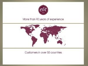 ELIT CHOCOLATE 2015 Company Profile Food Chocolate and