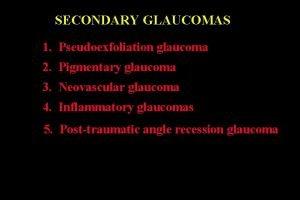 SECONDARY GLAUCOMAS 1 Pseudoexfoliation glaucoma 2 Pigmentary glaucoma