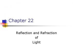 Chapter 22 Reflection and Refraction of Light Reflection