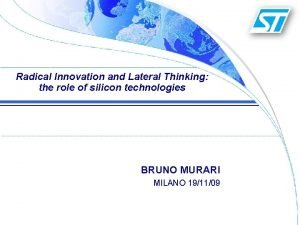 Radical Innovation and Lateral Thinking the role of