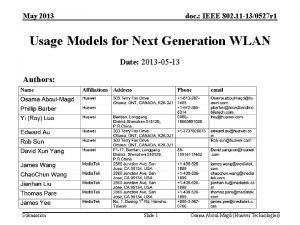 May 2013 doc IEEE 802 11 130527 r
