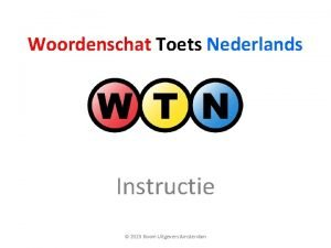 Woordenschat Toets Nederlands Instructie 2015 Boom Uitgevers Amsterdam