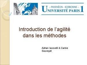 Introduction de lagilit dans les mthodes Adrian Iacovelli