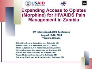 Expanding Access to Opiates Morphine for HIVAIDS Pain