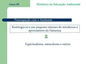 Anos 60 Histrico da Educao Ambiental Preocupao com
