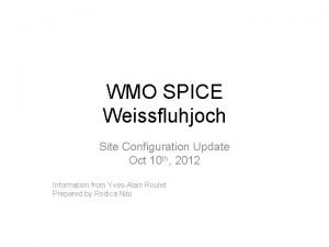 WMO SPICE Weissfluhjoch Site Configuration Update Oct 10