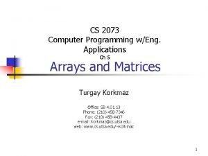 CS 2073 Computer Programming wEng Applications Ch 5
