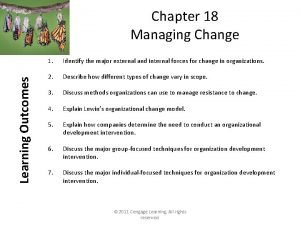 Learning Outcomes Chapter 18 Managing Change 1 Identify