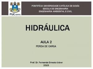 PONTIFCIA UNIVERSIDADE CATLICA DE GOIS ESCOLA DE ENGENHARIA
