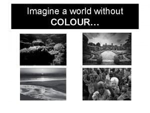 Imagine a world without COLOUR Welcome back COLOUR