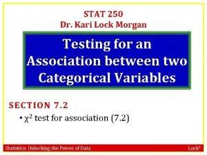 STAT 250 Dr Kari Lock Morgan Testing for