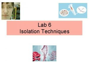 Lab 6 Isolation Techniques DNA Isolation from Haman