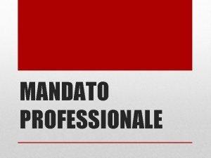 MANDATO PROFESSIONALE Il nuovo Mandato Professionale I contenuti