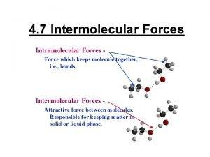 4 7 Intermolecular Forces intermolecular force the force