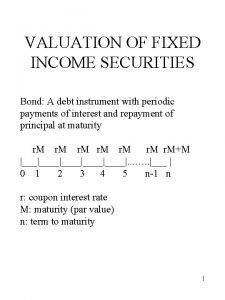 VALUATION OF FIXED INCOME SECURITIES Bond A debt