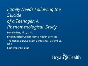 Family Needs Following the Suicide of a Teenager