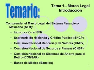 Tema 1 Marco Legal Introduccin Comprender el Marco