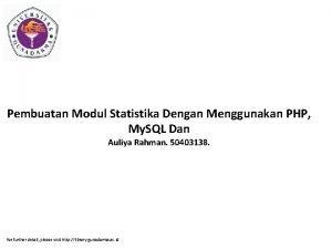 Pembuatan Modul Statistika Dengan Menggunakan PHP My SQL