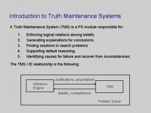 Introduction to Truth Maintenance Systems A Truth Maintenance