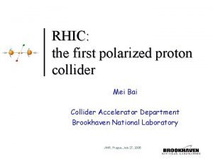 RHIC the first polarized proton collider Mei Bai