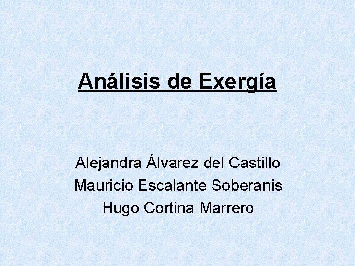 Anlisis de Exerga Alejandra lvarez del Castillo Mauricio