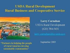 USDA Rural Development Rural Business and Cooperative Service