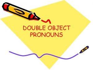 DOUBLE OBJECT PRONOUNS Direct Object Pronouns REPLACE the