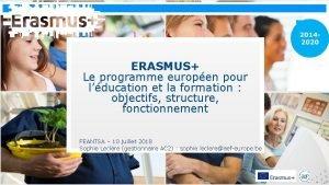 Erasmus ERASMUS Le programme europen pour lducation et