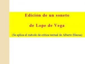 Edicin de un soneto de Lope de Vega