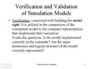 Verification and Validation of Simulation Models Verification concerned