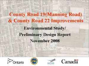 County Road 19Manning Road County Road 22 Improvements
