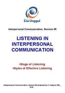 Interpersonal Communication Session 06 LISTENING IN INTERPERSONAL COMMUNICATION