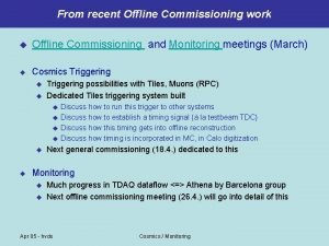 From recent Offline Commissioning work u Offline Commissioning