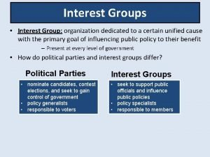 Interest Groups Interest Group organization dedicated to a