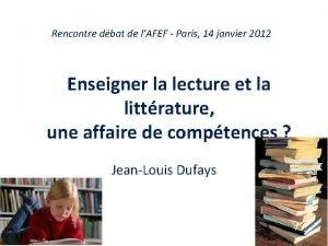 Rencontre dbat de lAFEF Paris 14 janvier 2012